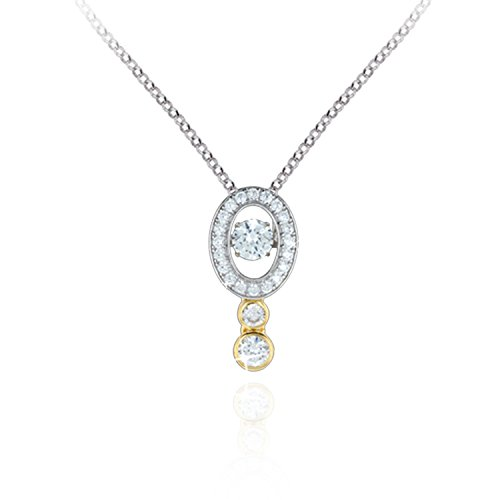 Genuine Sterling Silver with Yellow Gold Plating and Platinum Plating Oval Pendant Dancing Stone - Platinum Diamond Vermeil Pendant