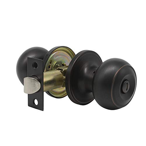 Probrico Privacy Door Knob Handles Bed and Bath Keyless Leversets Oil Rubbed Bronze Lockset 6 Pack by Probrico (Image #1)
