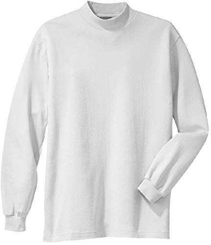 Joe's USA(tm) - Men's Interlock Knit Mock Turtleneck , White, X-Large / 44-46