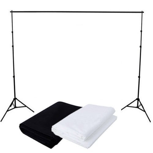 GTAPhotoStudio Photo Video Studio 8ft (H)x 10ft (W) Telescopic Backdrop Background Stand Support Kit w/ 2-pc 6x9ft Muslin Backdrops Black and White