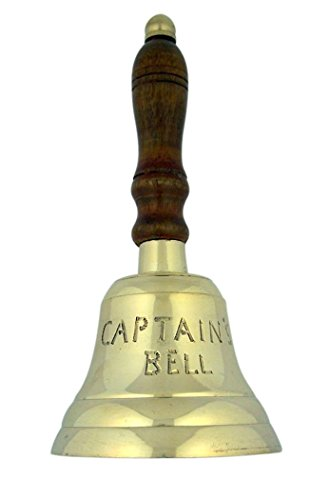 High Polished Brass Service Captain's Bell with Wood Handle, 3 1/4 Inch (Dia) by Religious Gifts