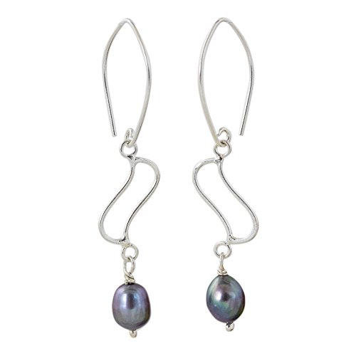 (NOVICA Dyed Gray Cultured Freshwater Pearl .925 Silver Dangle Earrings, 'Whispering Breeze in Grey')
