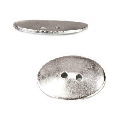 Sterling Silver Buttons - 20x14mm Sterling Silver plated Oval Button, 6 pieces