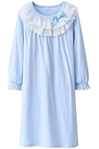 HOYMN Girls' Lace Nightgowns & Bowknot Sleep Shirts 100% Cotton Sleepwear Toddler 3-13 Years (3-4 Years/Tag 110, Round lace -