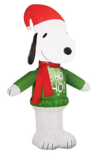 Gemmy Peanuts Snoopy with Santa Hat and Ho Ho Sweater 3.5 Ft Christmas Holiday Airblown -