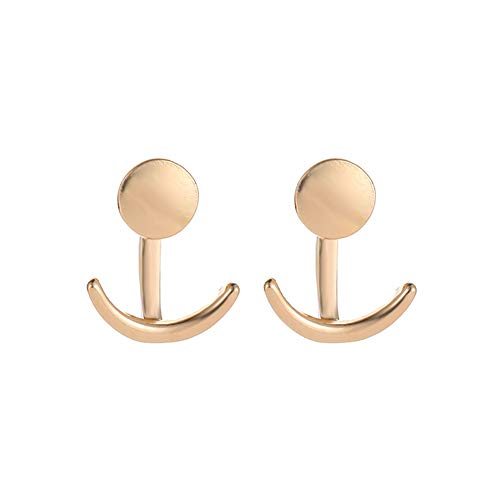 MIXIA Minimalist Cresent Half Moon Double Horn Disc Round Sequins Cion Ear Jacket Stud Earrings (Gold)