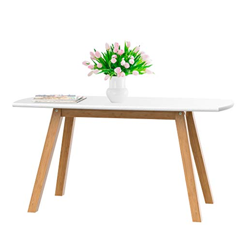 bonVIVO Coffee Table Franz, Designer Coffee Tables for Living Room and Modern Coffee Table That can be Used as Side Table, White and Wooden Coffee Table with Bamboo Frame (Wooden White Table Small)