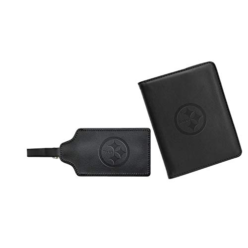 - NFL Pittsburgh Steelers Leather Passport Cover & ID Luggage Tag Set