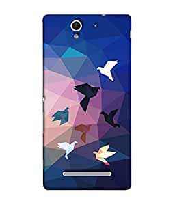 ColorKing Sony Xperia C3 Case Shell Cover - Paper birds Multi Color