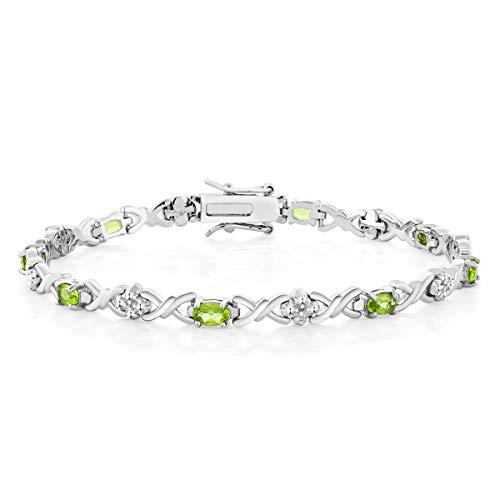 Gem Stone King Peridot & Diamond Accent 925 Sterling Silver 7 Inch Tennis Bracelet (4.00 cttw, Peridot: 6x4mm, Diamond: 0.09 milimeters) ()