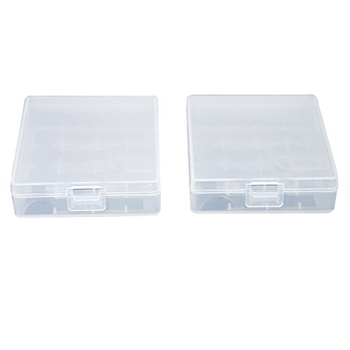ZTHY 2 Pcs Clear Flexibility Plastic Storage Box Case Holder for 4 x 18650 Batteries Or 8 x CR123A Batteries Both batteries with/without PCB can be loaded