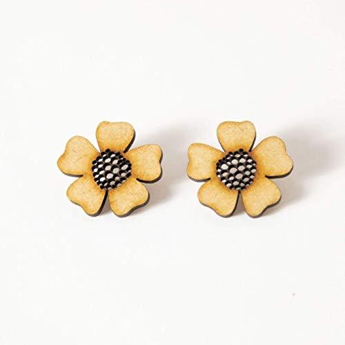 EYA ERO. Pendientes flor de madera y plata. Pendientes originales ...