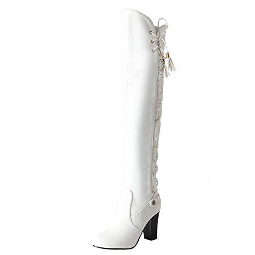 Blocco Il Alti Sopra Ginocchio Tacco Moda Donna Scarpe White Stivali COOLCEPT a6wqxI5zq