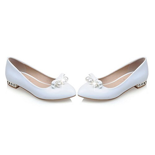 VogueZone009 Women's Pull-on Low-Heels PU Solid Pointed Closed Toe Pumps-Shoes White qeDnT4s