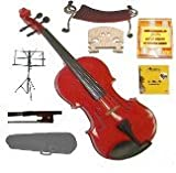 GRACE 1/8 Size Red Acoustic Violin with Case and Bow+Rosin+2 Sets Strings+2 Bridges+Tuner+Shoulder Rest+Music Stand
