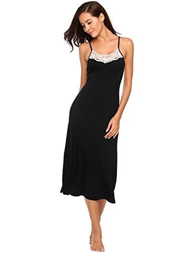 Ekouaer Long Nightgowns Womens Sleeveless Sleepwear Cami Lace Slip Dress S-XL