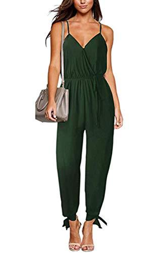 V Neck Bodysuits Women with Belt Body Floral Playsuit Overalls Print Spring Summer Jumpsuit,Green,XL