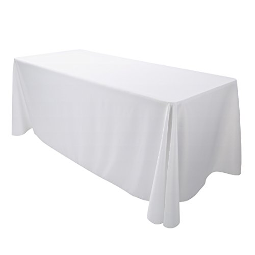E-TEX Oblong Tablecloth - 90 x 156 Inch - White Rectangle Table Cloth for 8 Foot Rectangular Table in Washable Polyester -