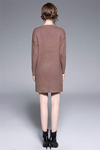 Redondo Moda Oficina Bodycorn Una Punto Suéter Clubwear Mujer Chaleco De fit Vestido Cuello Brown Línea Elegante Con Niña Slim Falda pqO8xZTw