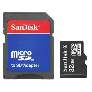 SanDisk 32GB MicroSDHC Memory Card with Adapter (Bulk Package) + USB2.0 High Speed Memory Card Reader/Writer (Sd Memory Adapter)