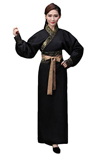 [Ez-sofei Ancient Chinese Han Dynasty Costumes Hanfu Robes S Black] (Chinese Dynasty Costume)