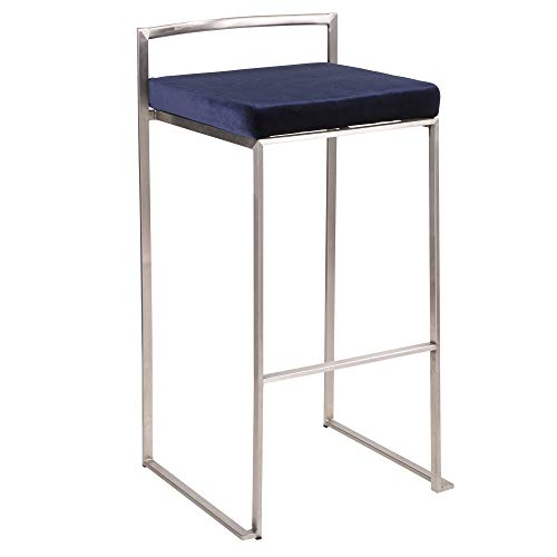 LumiSource Stackable Barstool in Stainless Steel and Blue Finish - Set of 2