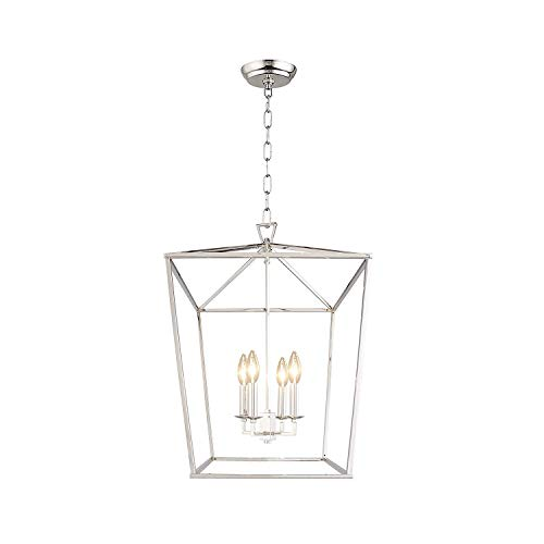 Cage Pendant Light Lantern Iron Art Design 4-Heads Candle-Style Chandelier Ceiling Light Fixture for Hallway Kitchen Dinning Room Bar Restaurant (W 12.6