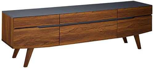 Modway Scope 71″ Mid-Century Modern Low Profile Entertainment TV Stand, Walnut Gray