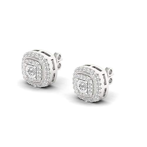 (0.50Carat (ctw) 925 Sterling Silver Round White Diamond Ladies Circle Cluster Screw Back Earrings)