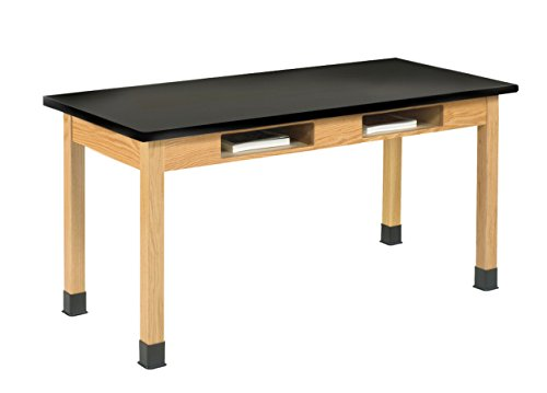DIVERSIFIED WOODCRAFTS C7606K30N Oak Table with Book Compartments, 1