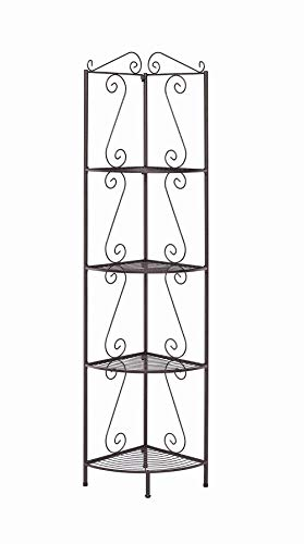 Corner Bookcase with Decorative Scrolls Copper (Corner Plant Stand Iron)