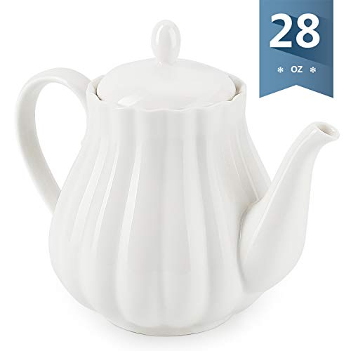 Sweese 2301 Ceramic Teapot Pumpkin Fluted Shape, White - 28 Ounce ()