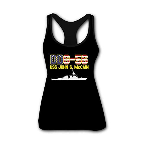 VPSSV USS John S McCain Tank Top Sleeveless Vest for Women Casual T Shirt M Black