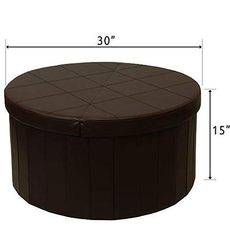 Folding Round Faux Leather Trunk Ottomans Bench Foot Rest Black Best Price Mattress 30 Storage Ottoman Coffee Table Smart Lift Top Otto /& Ben 30 Storage Ottoman