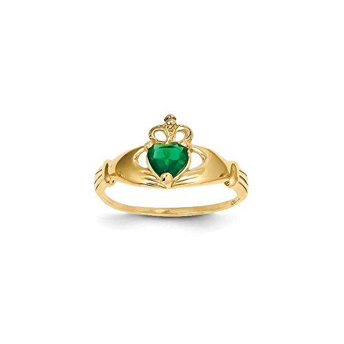 14k CZ May Birthstone Claddagh Heart Ring