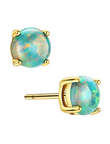 18K Gold Plated Opal Stud Earrings Sterling Silver Solitaire Green Stone 4 Prongs Setting Earrings for Women Girls