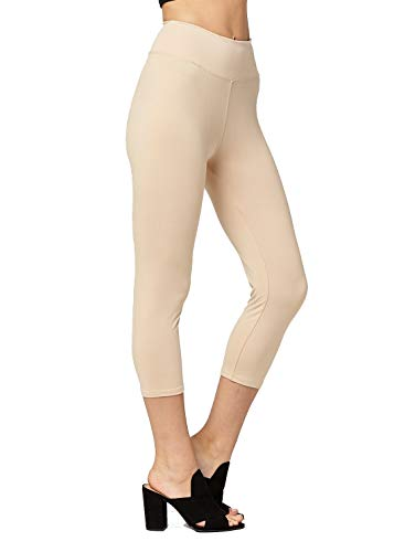 Super Soft High Waisted Leggings for Women - Capri Nude Beige - Large/X-Large (12-22) - Plus ()