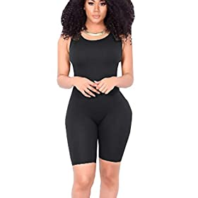 Icooltech Women Casual Sleeveless Bodycon Romper Jumpsuit Club Bodysuit Short Pants S Black