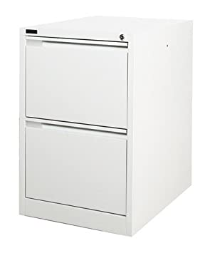 2 Drawer White Steel Filing Cabinet 62D X 47W X 71H (cm)