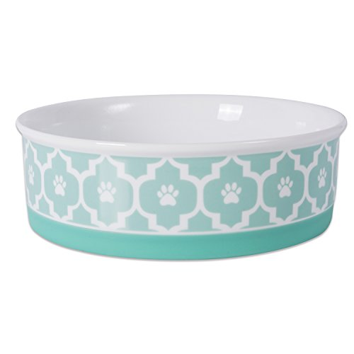 DII Bone Dry Lattice Ceramic Pet Bowl for Food & Water with Non-Skid Silicone Rim for Dogs and Cats (Large - 7.5 Dia x 2.4H) Aqua