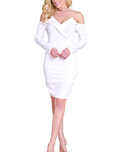 Shoulder Neck Slim Dress V White Skirt Charming Yiwa Elegant Off Sexy Women qnwRBqYI6