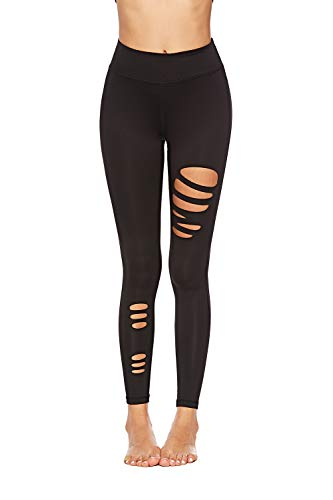 SOUTEAM Womens Teens Ripped Leggings High Waist Pocket Cut Out Stretchy Active Tight Pants, Black 02, M]()