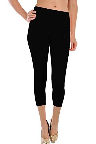 Sofra Women's Basic Footless 3/4 Capri Leggings Black One Size Fit Most