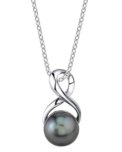 (THE PEARL SOURCE 9-10mm Genuine Black Tahitian South Sea Cultured Pearl Infinity Pendant Necklace for Women)