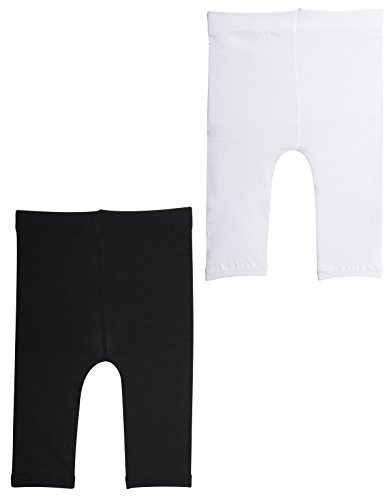 2 Pairs SEMI Opaque Cropped Leggins | Baby Footless Thights | Black,White | 50 DEN | Italian Hosiery | (12 Months, 1 Pair Black+ 1 Pair White)