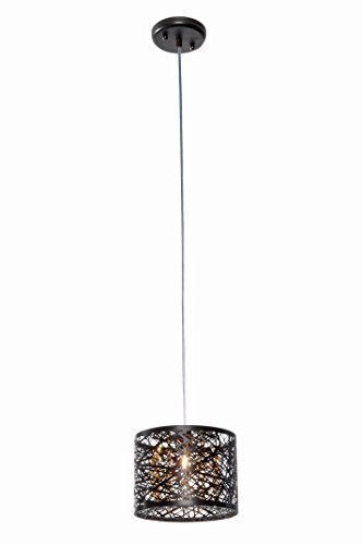 ET2 E21306-10BZ/BUL Inca 1-Light Pendant W/LED Bulb Mini Pendant, Bronze Finish, Cognac Glass, G9 LED Bulb, 5W Max., Dry Safety Rated, 2900K Color Temp., Standard Dimmable, Natural Fiber Shade Material, 800 Rated Lumens