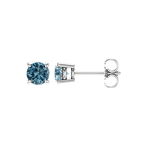 5mm Round Sky Blue Topaz Stud Earrings in 14k White Gold