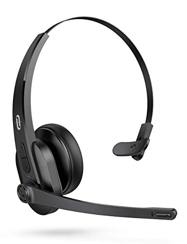 TaoTronics Trucker Bluetooth Headset with Microphone, Wireless Headset Noise Cancelling Mic, On Ear Bluetooth Headphones Noise Reduction, Bluetooth 5.0, 34H for Truck Driver Office Call Center Skype