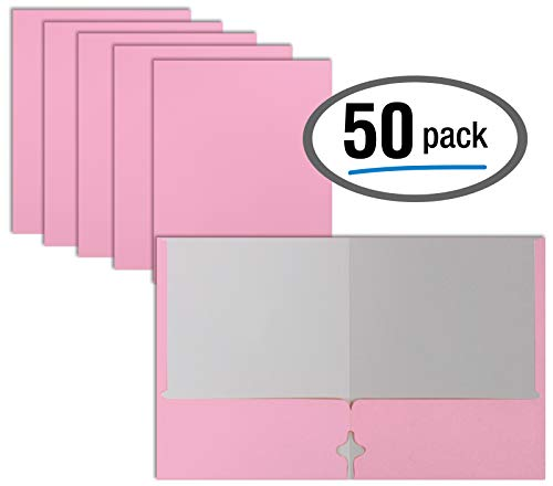 Two Pocket Portfolio Folders, 50-Pack, Pink, Letter Size Paper Folders, by Better Office Products, 50 Pieces, Pink
