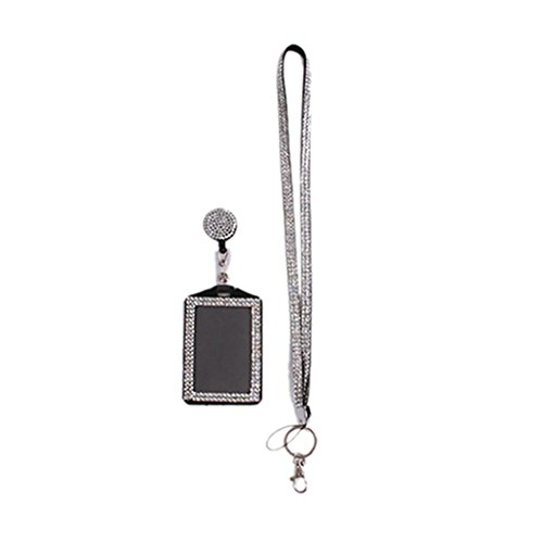 Jytrading Rhinestone Neck Bling Lanyard ID Badge Reel Phone Key Holder -Silver